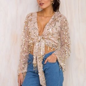 Princess Polly Gold Sequin Top